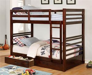 California IV Twin/Twin Dark Walnut Bunk Bed ,cm-bk588T-EX bunk bed