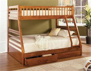 California II Twin/Full Bunk Bed with 2 Drawers CM-BK601A,cm-bk601a furniture of america bunk bed,oak bunk bed
