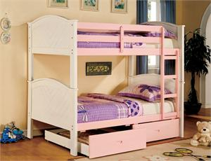 Aila CM-BK916PW Twin over Twin Bunk Bed ,cm-bk916pw furniture of america