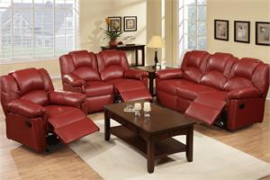 Burgundy Recliner Sofa Set Style F6678