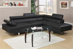 Black Sectional Sofa Poundex F7310