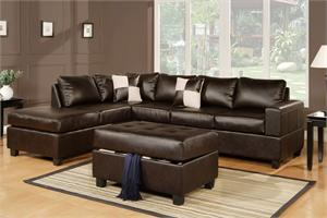 Espresso Sectional and Storage Ottoman Style F7351