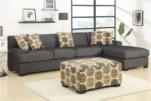 Fabric sofa and chaise with matching pillow with accent ottoman by Poundex