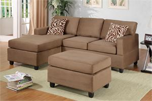 Small Saddle Sectional with Ottoman Savannah Collection,F7662 by poundex, small microfiber sectional