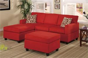 F7668 by poundex, Small Red Sectional with Ottoman Savannah Collection