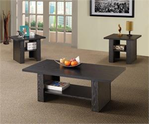 3PC Black Oak Coffee Table Set by Coaster,rich black finish