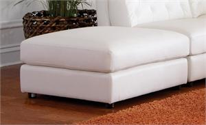 Storage White Leather Ottoman Rosario Collection