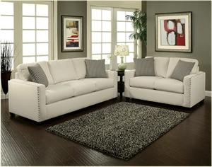 Trivia Sofa and Loveseat Set with Silver Nail Heads.