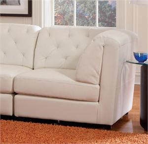 White Tufted Leather Corner Rosario Sectional