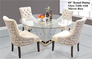 Round Dining Table with Mirror Base,YJ001,mirrored dining,mirrored furniture