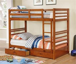 California IV Twin/Twin Bunk Bed w Storage Drawers Oak Color CM-BK588T-A