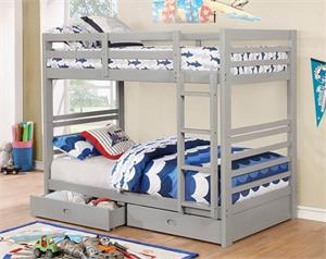 California IV Twin/Twin Bunk Bed w Storage Drawers Grey Color CM-BK588T-GY