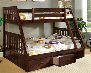 Camberra Dark Walnut Twin/Full Bunk Bed,cm-bk605ex furniture of america