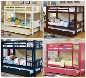 Cameron Twin/Twin Bunk Bed ,pink bunk bed,white bunk bed,cm-bk929 furniture of america,cm-bk929 bunk bed