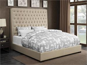 Camille Cream Upholstered Bed,300722 coaster