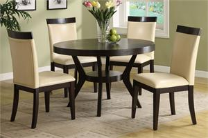 5 PC Set Dining Room Downtown l by Import Direct,espresso finish,solid wood,cream padded leatherette chairs