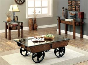 Penny Industrial looking Coffee Table Set,cm4318 furniture of america