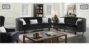 Manuela Black Sofa set Collection CM6145,cm6145bk furniture of america