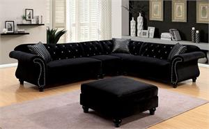 Jolanda II Black Sectional CM6158,cm6158bk furniture of america,cm6158 sectional