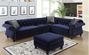Jolanda II Blue Sectional CM6158,cm6158bl furniture of america,cm6158 furniture of america