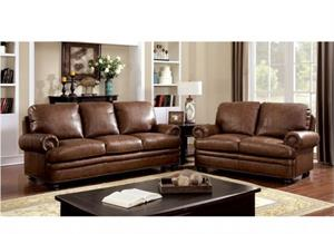 Rheinhardt Top Grain Leather Match Sofa Set Collection,cm6318 furniture of america,cm6318 sofa