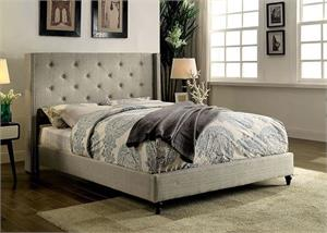 Anabelle Gray Upholstered Bed,cm7677 bed,cm7677 furniture of america