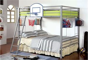 Athlete Full/Full Bunk Bed with Basketball Hoop,cm-bk927,cm-bk927bskt bunk bed