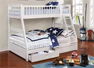 Cooper White Twin over Full Bunk Bed 460180,460180 coaster