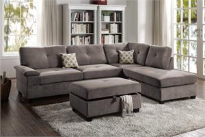Charcoal Sectional Sofa Poundex F6425,f6427 poundex