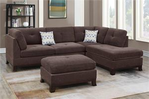 Dark Coffee Reversible Sectional with Ottoman F6477, f6477 poundex