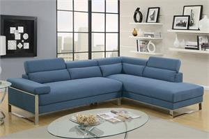 Sectional Sofa Blue Poundex F6541,f6541 poundex