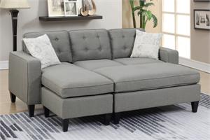 Light Grey Reversible Sectional Poundex F6576,f6579 poundex