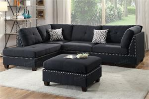 Black 3 Piece Sectional Sofa F6974,f6974 poundex