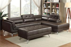 Espresso Bonded Leather Sectional F6976,f6976 poundex