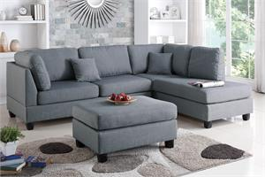 Sectional Sofa with Ottoman Poundex F7606,f7606 poundex