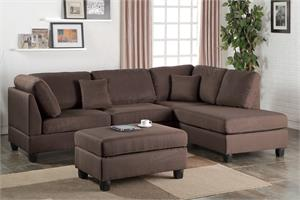 Sectional Sofa with Ottoman Poundex F7608,f7608 poundex