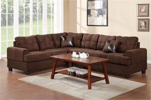 Leo Chocolate Microfiber Reversible Sectional Poundex F7627,f7627 poundex