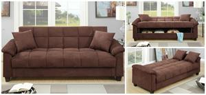 Chocolate Microfiber Adjustable Sofa,f7889 poundex