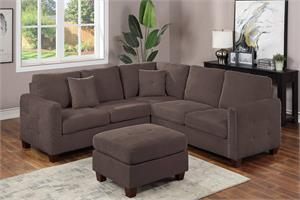 Dark Brown Velvet Sectional with Ottoman F8823, f8823 poundex
