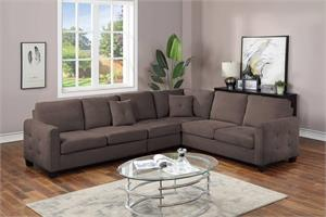Dark Brown Velvet Sectional F8826, f8826 poundex