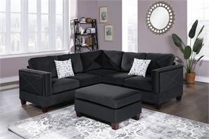 Porto Reversible 3 Piece Sectional Sofa F8841, f8841 poundex