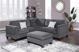 Porto Reversible 3 Piece Sectional Sofa F8842, f8842 poundex