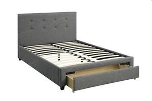 Spring Slate Fabric Platform Bed with Storage,f9330 poundex
