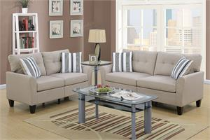 Beige Sofa and Loveseat Set Poundex F6534,f6534 poundex