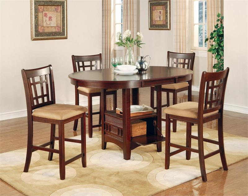 Delightful Dark Cherry Counter Height Dining Set Lavon Collection