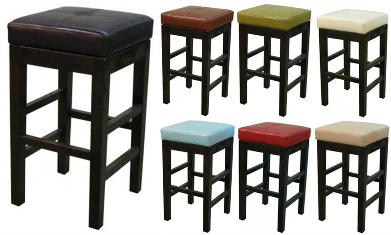 Square Bar Stools ~ Valencia square leather counter stool