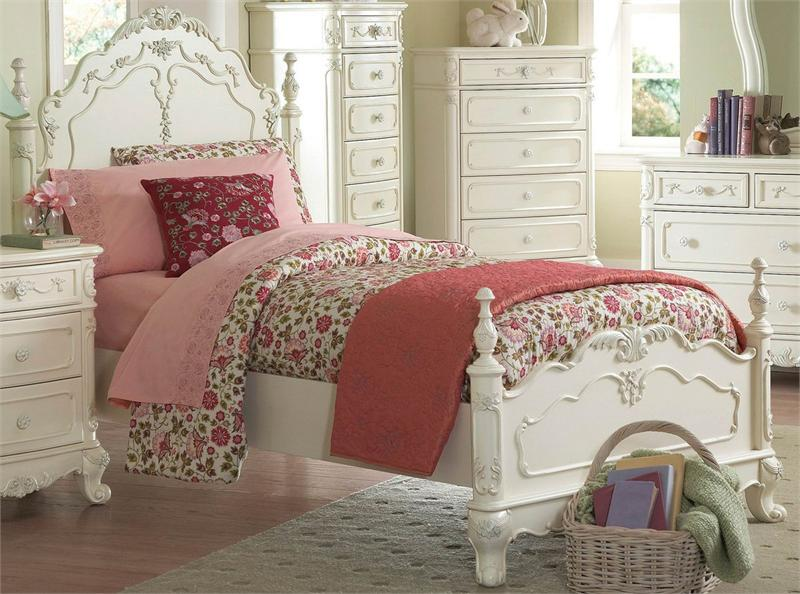 cinderella bedroom set white finish - bedroom design ideas