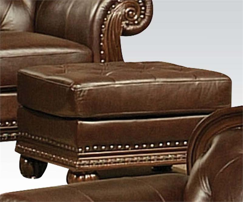 ottoman anondale acme top grain leather sofa set
