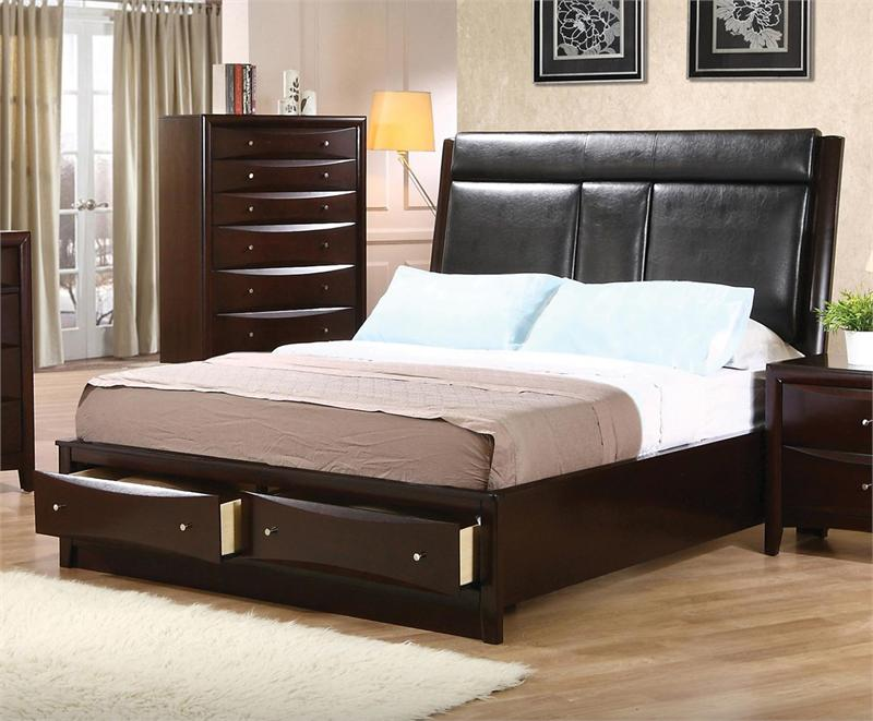 Leather headboard storage bedroom set pheonix collection for Leather headboard designs