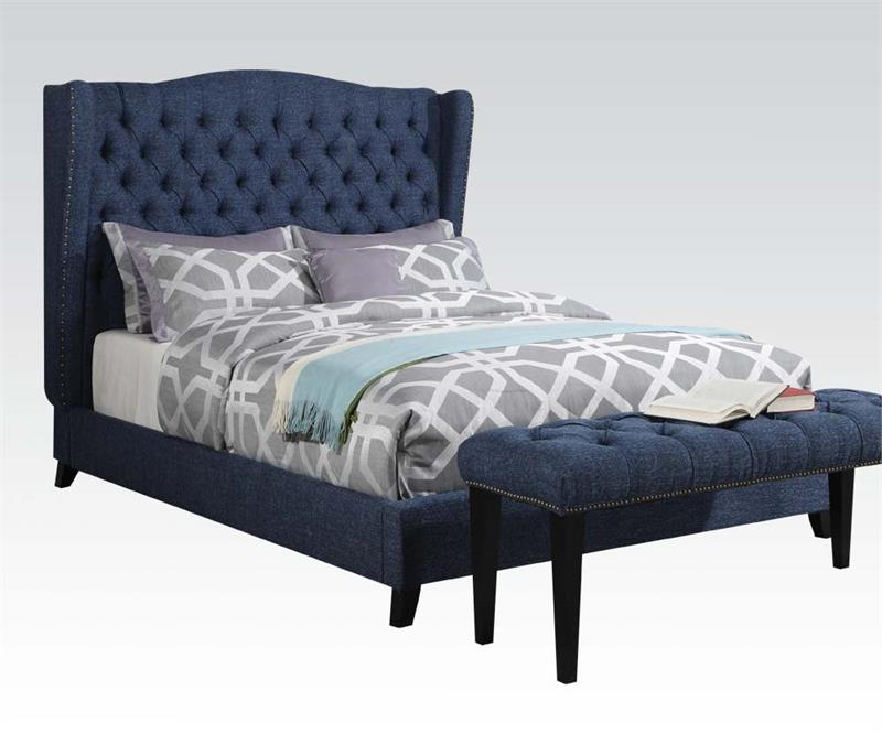 Ordinary Blue Fabric Bed Part - 7: Faye Blue Linen Fabric Bed. Faye Blu Linen Fabric Bed.